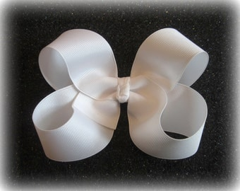 White Hair Bow - Girls Hairbows - Big Bows - Large Hair Bow - Classic Hairbows - Wedding Bow - Baby Bow - Toddler Bow - 4 5 inch Bows, 45G