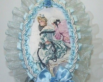 ON SALE Wall Decor, Cottage Chic, Something Blue, Victorian, French, Couple, Romantic, Blue, Mixed Media, Bedroom Decor, Home Decor, Decorat