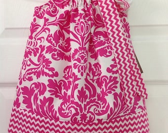 READY TO SHIP Hot Pink Damask Pillowcase Dress Size 12 months