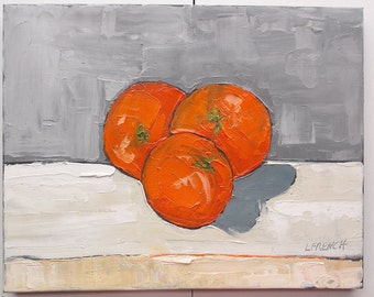 Impressionist Summer Garden Orchard Florida ORANGES Painting Original Art Lynne French 11x14