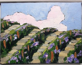 Impressionist California VINEYARD Grapevines Winery Painting Original Art Lynne French 11x14