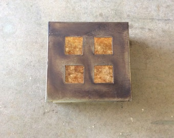 "Four Square // 9"" x 9"" x 4"" Steel Light Sconce with Square Cutouts and Amber Mica"