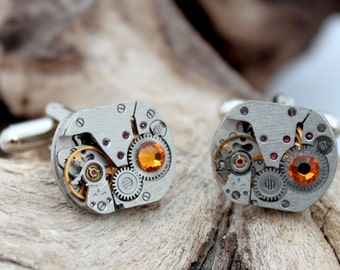 Steampunk watch movement cuff links with amber Swarovski crystal rhinestone- polished matching pair- Unisex gift for him or her
