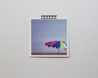 Umbrella Photograph, Nautical Decor, Beach Photography, Eco Friendly, Long Island Art, Seaside Photography, Bright Umbrella, Umbrella Print