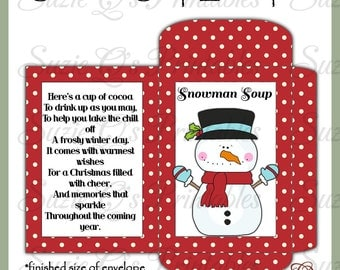 Snowman Soup Envelope - US and International Sizes - Digital Printable - Good Seller for Winter Craft Shows - Immediate Download