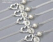 CUSTOM COLOR Silver Heart Bracelet, Personalized Sterling Silver Heart Bridesmaid Gift Bracelet, Bridesmaid Bracelet, Bridesmaid Jewelry