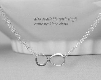 Sterling Silver Infinity Necklace, Silver Infinity Necklace, Gift for Wife, Layering Necklace, Girlfriend Gift, Valentines Gift for Her