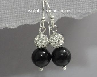 Swarovski Mystic Black Pearl  Bridesmaid Earrings, Jet Black Pearl Earrings, Bridesmaid Gift Earrings, Bridesmaid Jewelry Maid of Honor GIft