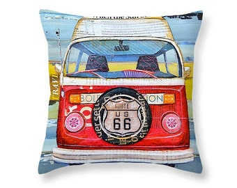 Route 66 Vw van bus throw ART PILLOW, Portland Maine, home decor pillow, summer gift for her, Christmas gift, coastal decor gift