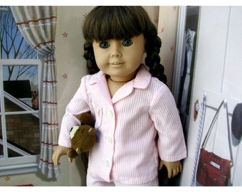 Doll Pajamas Striped Cotton for 18 Inch Dolls like American Girl Doll, Molly, Historical 40s