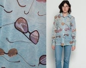 Psychedelic Shirt SUNGLASSES Novelty Print Blouse Sheer 70s Disco Hippie Boho Long Sleeve Vintage Button Up Top 1970s Blue Extra Large xl
