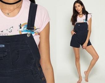 Shortalls Denim Overall Shorts Jean Navy Blue Playsuit 80s Grunge Suspender Bib One Piece Woman 1980s Vintage Extra small xs