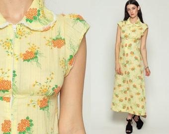 Peter Pan Dress 60s Mod Maxi PUFF SLEEVE Floral Print Bohemian Collar Boho Hippie 70s Vintage Empire Waist Pastel Yellow Small