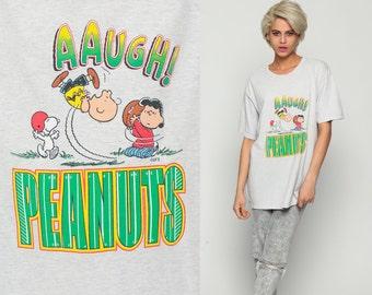 Peanuts T shirt 90s Charlie Brown FOOTBALL Comic Lucy Snoopy Graphic Tee 1990s Vintage tShirt Vintage Cartoon Retro Grey Large