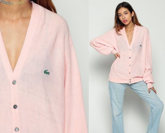 Lacoste Sweater Pastel Pink Cardigan Sweater 80s Button Up