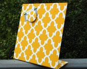 Christmas Hostess Gift, Magnet Board, Yellow Quatrefoil Fabric, Countertop Organizer, kitchen organizer, magnetic picture frame