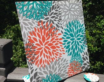Magnetic Board, Vision Board, Freestanding Magnet Board, Turquoise Tangerine Bloom Fabric, Planner Board, Story Board, Magnets