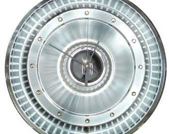 Ford Hubcap Clock, 1970s, Ford LTD with dots for numbers  (recycled clock)