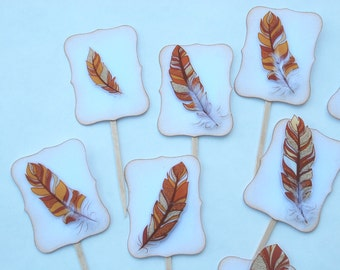 Fall Fancy Feathers - Cupcake Toppers