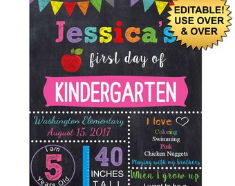 DIY editable printable First day of school ANY grade Girls chalkboard poster Instant download sign Digital File PDF 16x20 or 11x14 or 20x30
