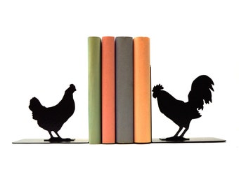 Rooster and Hen Metal Art Bookends - Free USA Shipping