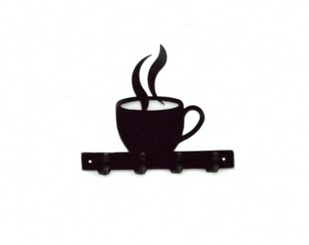 Coffee Cup Metal Art Key Rack - Free USA Shipping