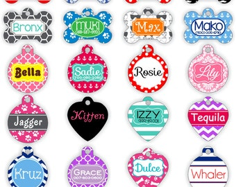 Personalized Pet Tag Personalized Dog Tag Custom Dog Tag Custom Pet Tag Stripes or Design Your Own Pet Tag Pet Gift Elephants Dog Tag
