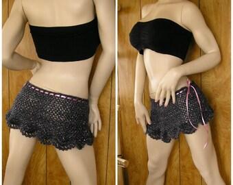 "Charcoal gray with pink, crochet skirt, gypsy skirt, boho skirt, fairy skirt, pixie, festival skirt, pareo, drawstring waist fits up to 36"""