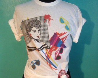 Vintage 1980s new wave Nagel style transfer on new T-shirt