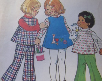Vintage Simplicity 6531 Little Girls Sewing Pattern Dress or Top Bell Bottom Pants Transfers for Appliqué Size 3 Chest 22 in.,1974