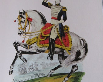 Currier and Ives, Gen. Andrew Jackson, 8.5 x 11 in Reproduction Print, Bookplate, 1978 Unframed Vintage Book Print