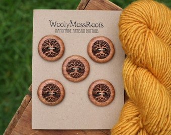 5 Wood Tree Buttons- Oregon Madrone Wood- Wooden Buttons- Eco Craft Supplies, Eco Knitting Supplies, Eco Sewing Supplies