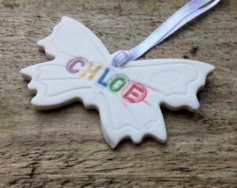 Childrens stocking fillers for Girls - Personalised Girls Room Decor - Personalised Nursery Decor - Butterfly Wall Art Custom  Ornament