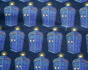 Doctor Who Tardis Police Call Box Quilting Cotton Fabric 3/4 yd