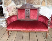 REDUCED Antique Parlor Set Sofa Settee & 4 Chairs Late 1800s Original Upholstry East Lake Style Walnut SALE