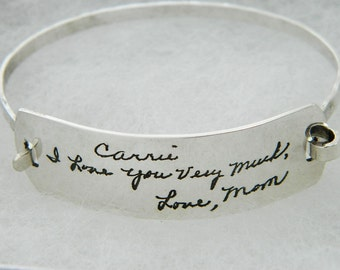 Handwriting Bracelet  Personalized Signature Jewelry in Sterling Silver