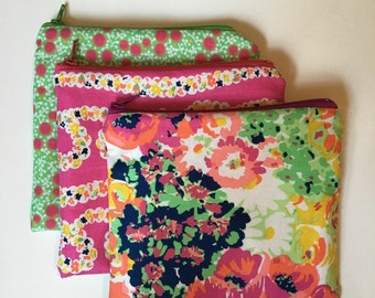 Summer pink green florals Set of 3 Wet bag/Snack bags with waterproof lining