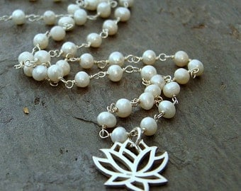 Pearl Lotus Silver Necklace - Inner Beauty Purity, Flower Lotus Pendant, Yoga Jewelry, Pearl Rosary Necklace, Pearl beaded Necklace, Lotus