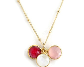 Trio of Love, Hope, New Beginnings - Ruby, Rose Quartz, Moonstone, Yoga Jewelry, Gemstone necklace. Gold Necklace, Yoga Necklace. Gemstone