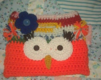 Handmade Crochet Owl Purse Orange and Crayon Color     Blue Flower