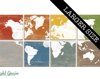 EXTRA Large Colorful World Map Wall Art - Custom Map Print Collection - Nursery or Office Decor - 32x64