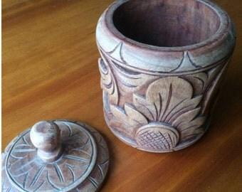 Folkart Carved Wood lidded Box