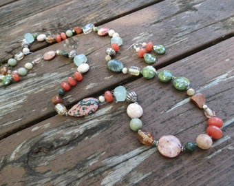 Ocean Jasper, Jade, Fossil Jasper, Crystal, Glass, Agate and Quartz Knotted Necklace and Earrings