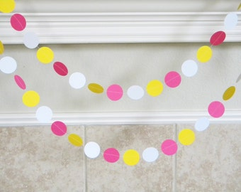 Hot Pink, Bright Yellow, White Paper Garland, Pink Lemonade Stand First Birthday Party, Pink Yellow Sunshine Baby Girl Shower Decorations