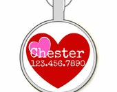 Red Hearts Silver Custom Personalized Dog ID Pet Tag Custom Pet Tag You Choose Tag Size & Colors