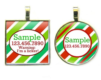 Holiday Stripes  Silver Custom Personalized Dog ID Pet Tag Custom Pet Tag You Choose Tag Size & Colors