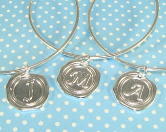 6 Silver Bangle Bracelets with Wax Seal INITIAL Charms YOU CHOOSE Letters - Expandable Mother's Day Best Friend Bridesmaid Gift Bulk