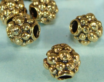 6 GOLD Spacer Beads 8mm x 7mm Round Pewter Bulk Beads Jewelry Supplies Antique Gold Plate USA Made for Bracelets Necklace 2mm Hole 2G