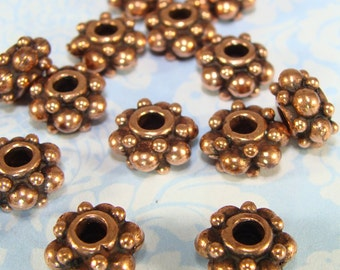 6 Copper Spacer Beads 8mm x 4mm Pewter Flat Round Halo Rondelle Jewelry Supplies Antique Copper USA Made for Bracelets Necklace 2mm Hole 8C
