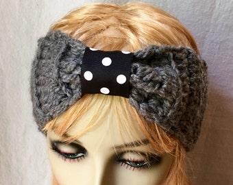 Crochet Headband Charcoal Grey, Ear Warmer, Ribbon, Bow, Ski Headband, Pick Color, Chunky, Gifts for her, Birthday Gifts, Handmade - HBJE422
